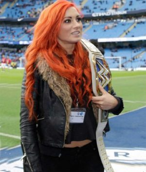 Becky Lynch WWE Black Shearling Leather Jacket