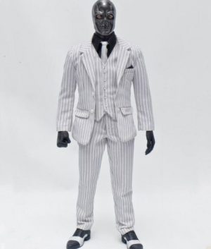 Ewan McGregor Birds of Prey Black Mask White Pinstripe Suit