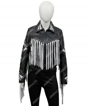 Birds Of Prey Margot Robbie Fringe Black Leather Jacket - Copy