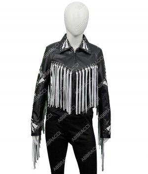 Birds Of Prey Margot Robbie Fringe Black Leather Jacket - Copy