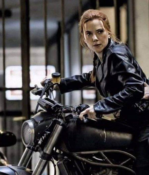 Scarlett Johansson Black Leather Black Widow 2020 Natasha Romanoff Motorcycle Jacket