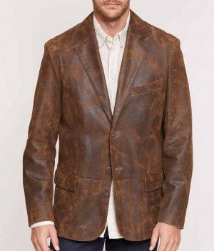 Broyles Mens Distressed Leather Blazer
