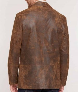 Broyles Mens Distressed Lambskin Leather Blazer