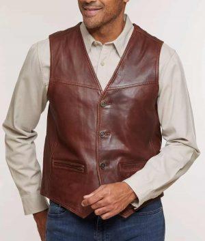 Carreras Mens Distressed Leather Vest
