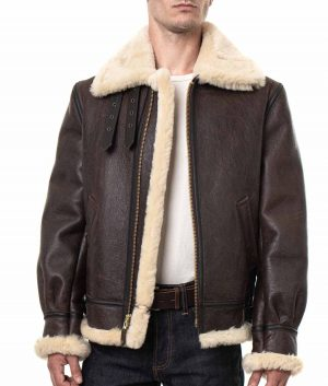 Charles Mens Classic Sheepskin Leather Bomber Jacket
