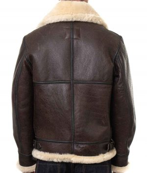 Charles Mens Classic Sheepskin Leather B-3 Bomber Jacket