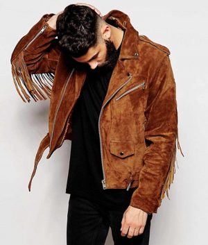 Cunningham Mens Brown Fringe Biker Jacket