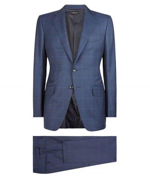 James Bond Spectre Windowpane Blue Suit