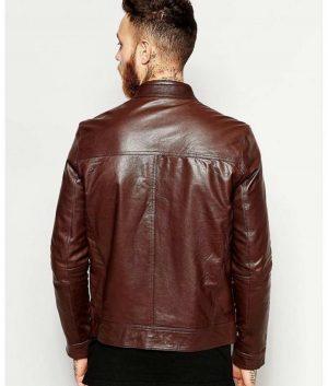 Daniel Mens Cafe Racer Maroon leather Jacket