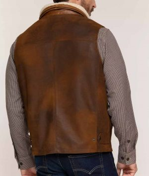 Daniel Mens Lambskin Leather Vest With Shearling Collar