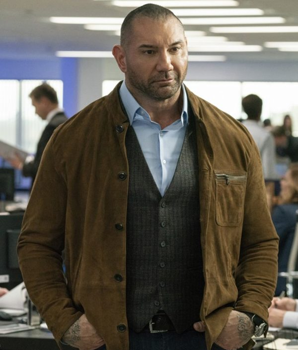 Dave Bautista JJ Brown Suede Leather My Spy Jacket