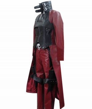 Devil May Cry 2 Dante Black And Maroon Leather Coat