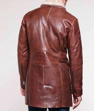 Dinapoli Mens Brown Leather Mid-Length Shearling Coat
