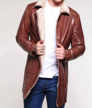 Dinapoli Mens Brown Leather Mid-Length Coat