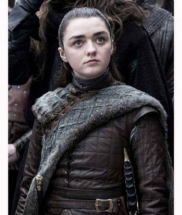 Maisie Williams Game Of Thrones S08 Arya Stark Leather Jacket