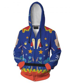 Harley Quinn Margot Robbie Blue Zip-up Birds Of Prey Hoodie