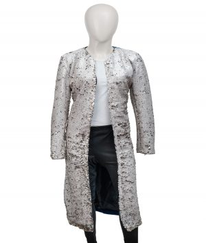 Harley Quinn Margot Robbie Birds Of Prey Sequin Long Trench Duster Coat (1)