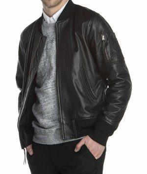 Hernandez Mens Black Leather MA 1 Jacket