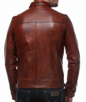 James Mens Classic Maroon Leather Jacket