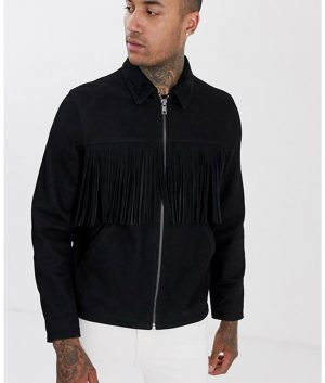 Jeffrey Mens Tassels In Black Suede Fringe Jacket