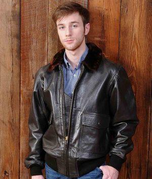 Jeffrey Mens US Wings USCG Goatskin Bomber Jacket