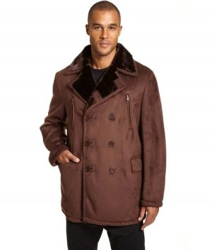 Jensen Mens Big and Tall Faux Shearling Peacoat