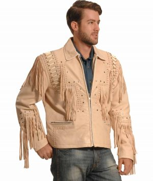 John Mens Turn Down Collar Beige Jacket