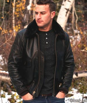 Kenneth Mens G-1 Flight Jacket with Removable Collar
