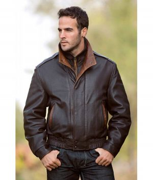 Lawrence Mens Lambskin Leather A-2 Bomber Jacket