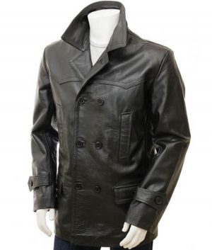 Leslie Mens Black Leather Peacoat