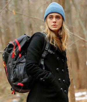 Michaela Stone Melissa Roxburgh Black Wool-Blend Manifest Pea Coat