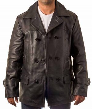 Martin Mens Leather PeaCoat