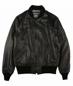 McMunn Mens Black Leather MA-1 Jacket