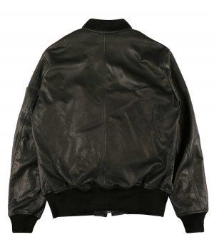 McMunn Mens Black Leather MA-1 Bomber Jacket