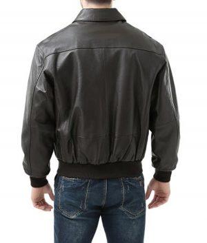 Michael Mens USA F A2 Flight Bomber Black Leather Jacket