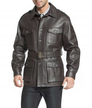 Monroe Mens Military Style Lambskin Leather Trench Coat