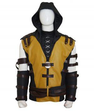 Scorpion Mortal Kombat 10 Yellow Leather Jacket With Hood