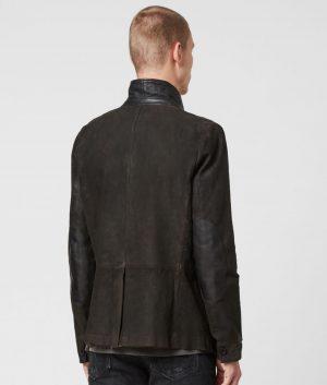 Moyer Mens Button Closure Leather Blazer