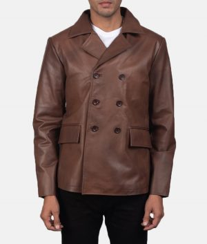 Mr. Micheal Mens Brown Peacoat