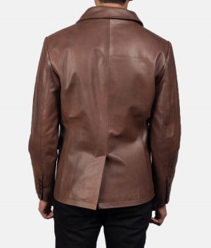 Mr. Micheal Mens Brown Leather Naval Peacoat