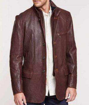 Nickels Mens Mahogany Lambskin Leather Blazer