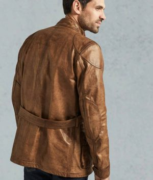 Nickelson Mens Distressed Leather Brown Field Jacket