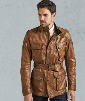 Nickelson Mens Distressed Leather Brown Jacket