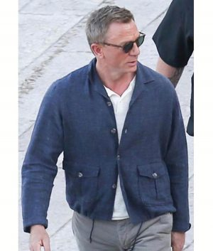 Daniel Craig No time to die Blue Cotton Jacket