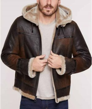 Patrick Mens Merino Sheepskin B-3 Bomber Jacet with Detachable Hood