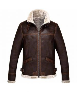 Leon Kennedy Resident Evil 4 Shearling Brown Leather Jacket