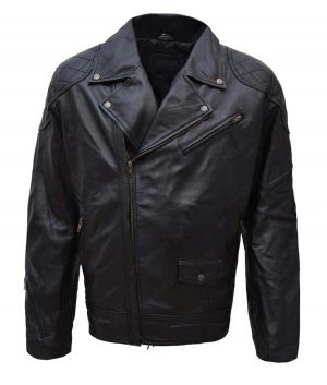 Wrestler Roddy Piper Black Leather Motorcycle Jacket