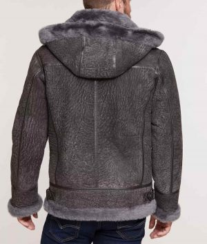 Rogelio Mens Pebble Grey Sheepskin B-3 Bomber Jacket