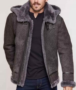 Rogelio Mens Pebble Grey Sheepskin B-3 Jacket