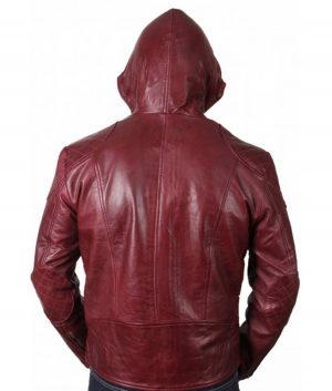 Roland Mens Hooded Style Maroon Leather Jacket